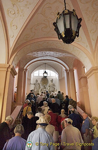 Crowds making their way up the steps Melk Benedictine Abbey