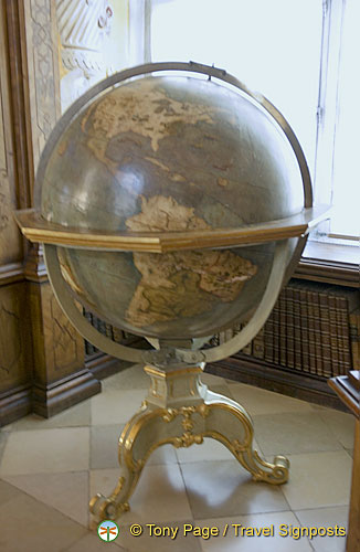 17th c. globe of the world. Australia is missing continent and California is on an island
