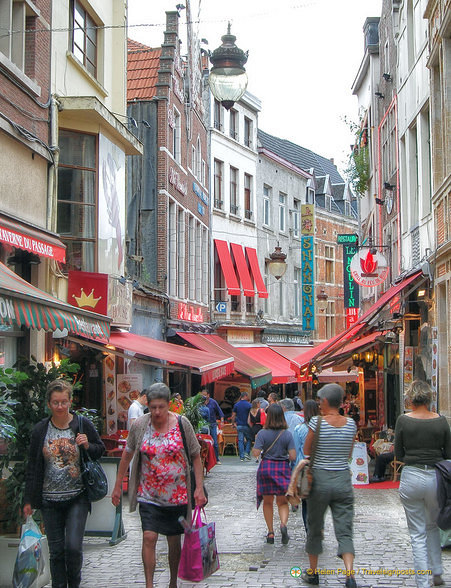 Rue des Bouchers lined with restaurants
