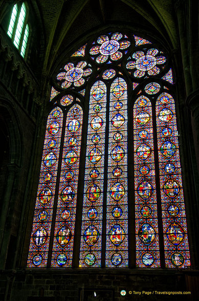 The stained glass window in the Notre-Dame de Dinant is one of the largest in the world