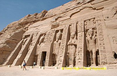 Statues of goddess Hathor alternate with Ramses II on the facade of Queen Nefertari's Temple.