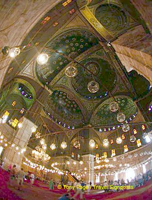Ornate ceilings and lights of the Mosque.