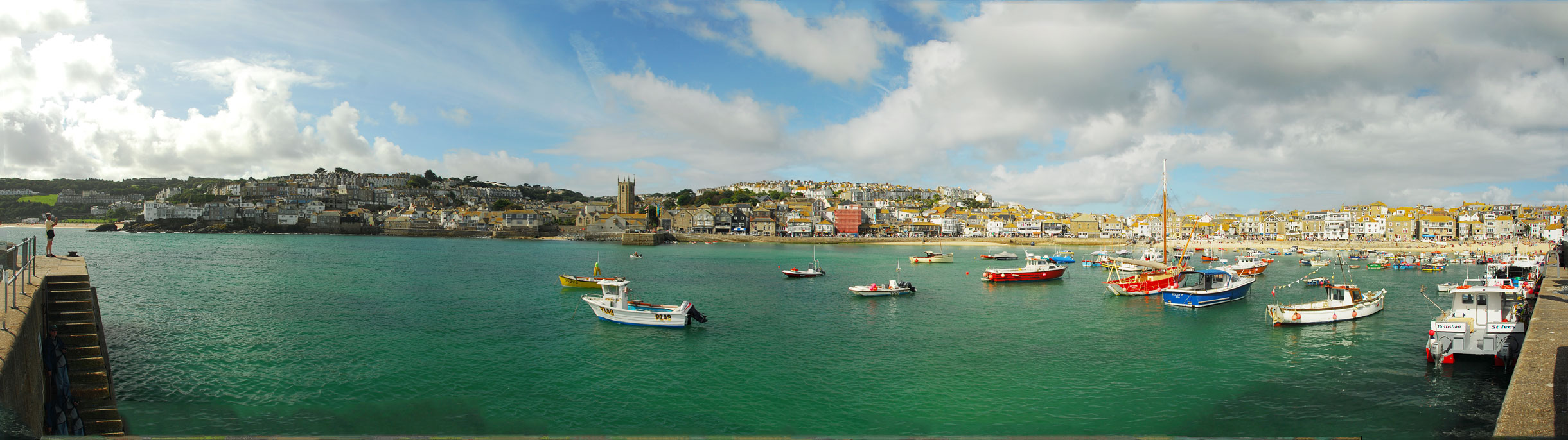 A panoramic view of St Ives Harbour