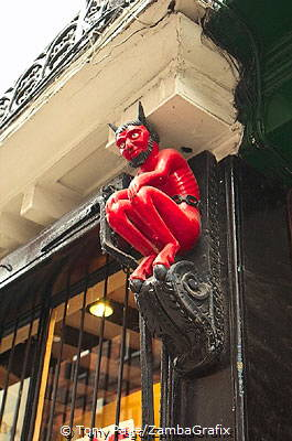 At No. 33 Stonegate, this medieval red devil watches over passers-by