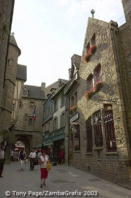 The route runs past the Eglise St-Pierre to the abbey gates [Mont-St-Michel - France]