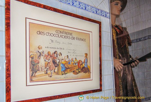 Certificate of the Confrerie des Chocolatiers de France - brotherhood of chocolatiers