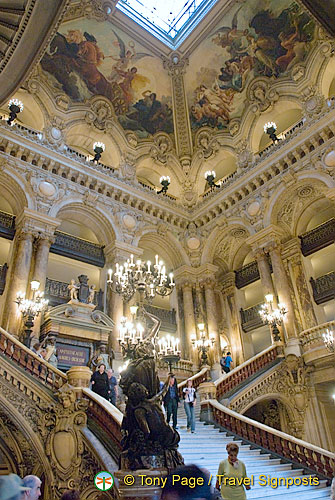 Palais Garnier view of staircase and ceiling paintings
