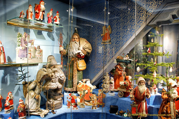Display of Santa Clauses
