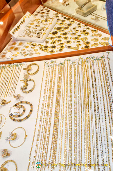 Display of gold jewelry at the Gold Corner