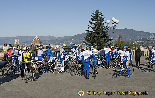 Cyclists enjoying the Piazzale Michelangelo viewpoint