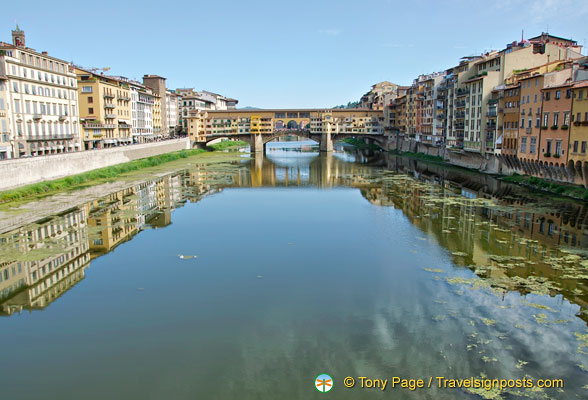 View of the Arno and Ponte Vecchio as seen from Ponte delle Grazie