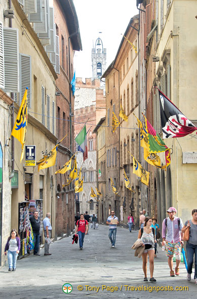 Street decorated with palio flags