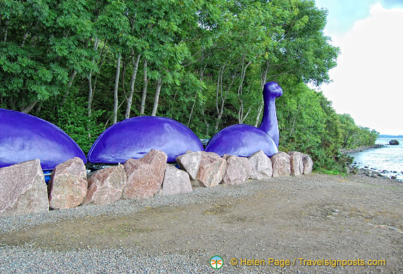 A fluorescent purple Loch Ness Monster