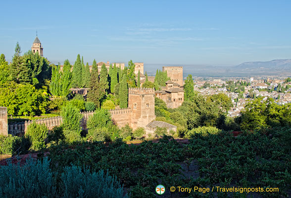 View of the Alhambra wall from the Generalife