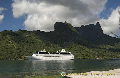Cruise ships moor in the various bays regularly.