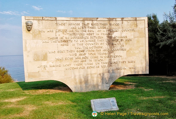 Memorial by the Turkish Government in memory of the ANZAC soldiers