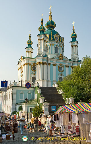 St Andrew's Church and Flea Market, Andriyivsky uzviz (St Andrew's Descent), Kyiv (Kiev)