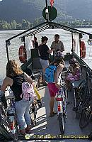 This little ferry takes passengers across the Danube