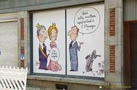 A local carton about Dinant and its famous saxaphone