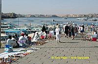 The jetty to our motorized boat - lined with Nubian traders selling their crafts.