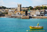 St Ives Bay and the towering St Ives Parish church tower