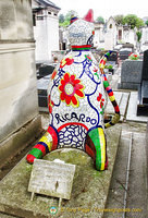 This cat was created by Niki de Saint Phalle for the grave of Ricardo Menon, her assistant