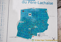 Map of Père-Lachaise cemetery
