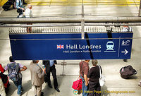 Direction to the Hall Londres, the Eurostar to London check-in