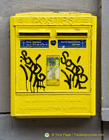 A grafittied postbox