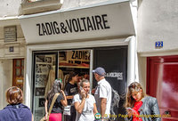 Zadig & Voltaire, a great Paris outlet at rue du Bourg-Tibourg, 75004