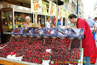 Great cherries at this rue Cler fruit shop