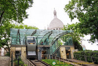 Upper station of Montmartre funicular at the foot of Sacre-Coeur
