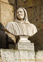Bust of Jean Mabillon, a French Benedictine monk and scholar, believed to be the founder of palaeography and diplomatics