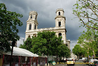 The mismatched towers of St Sulpice