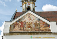 Religious artwork on gable of Grabkirche