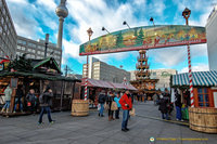 Tony at the archway of the Alexanderplatz Christmas Market