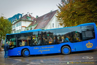 The royal blue bus to Neuschwanstein Castle
