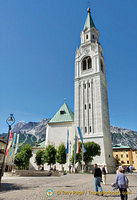 The bell tower of the Parish Church of Cortina d'Ampezzo