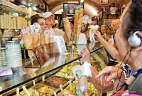 The very busy gelato counter at Dondoli