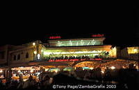 View of the Argana Cafe from the Djemaa el Fna Square