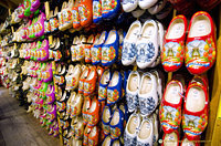 Shelves of clogs for sale
