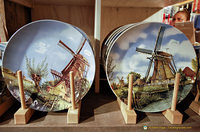 Windmill decorated plates