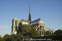 Notre Dame. The Spire, which is 90m high, was designed by Viollet-le-Duc
