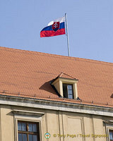 Slovak Republic flag on the Pálffy Palace