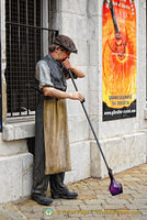 Glassblower outside the Gibraltar Crystal Factory