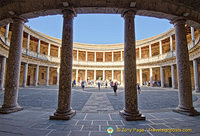 Palace of Charles V:  This is lower level circular courtyard is intended to reflect a Roman-like architecture