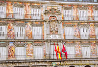 Mythological figures like Bacchus, Cupid and Cybele, on the facade of the La Casa de la Panadería