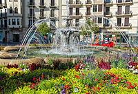 Beautiful floral garden and fountain