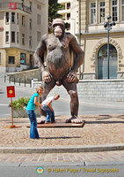This gorilla in front of the Town Hall is the source of much amusement