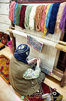 Silk carpet weaving